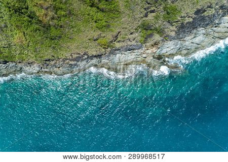 Top View Landscape Nature Scenery View Of Beautiful Tropical Sea With Sea Coast View In Summer Seaso