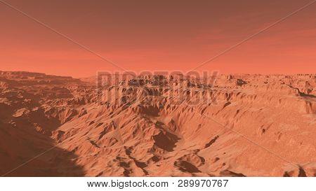 Mars Landscape, A 3d Render Of Imaginary Mars Planet Terrain, Science Fiction Illustration Of An Ima