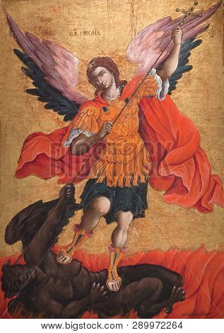 Meteora, Greece - March 17, 2018: Ancient Painting With Archangel Michael From Cemetery Church, 17-t