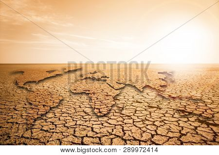 World Map In The Desert. Global Warming And Climate Change Concept