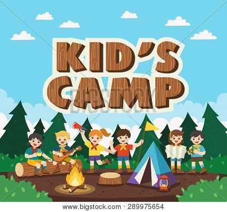 Children Camping Out In The Park. Camping Kids Concept. Summer Camp Education Advertising. Vector Il