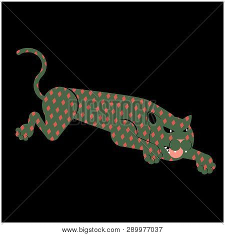 Leaping Leopard Flat Illustration Isolated On White. Jungle Animals Series