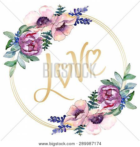 Purple Bouquet Floral Botanical Flower. Watercolor Background Illustration Set. Frame Border Ornamen