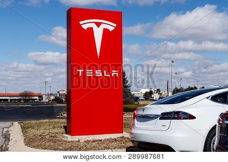 Indianapolis - Circa March 2019: Tesla Service Center. Tesla Says New V3 Supercharger Stations Will