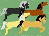 Group of four colorful carousel horses illustration poster