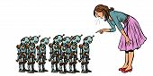 learning artificial intelligence concept, woman swears at small robots. Pop art retro vector illustration vintage kitsch 50s 60s poster