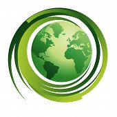 Planet Earth with Recycle Symbol environment - Greener World poster
