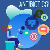 Conceptual hand writing showing Antibiotics. Business photo showcasing Antibacterial Drug Disinfectant Aseptic Sterilizing Sanitary. poster