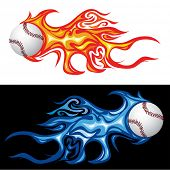 vector illustration of the baseball in fire poster