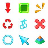 Arrowhead icons set. Cartoon set of 9 arrowhead icons for web isolated on white background poster