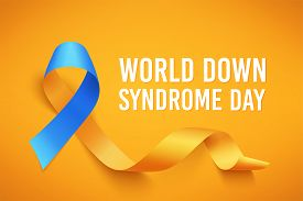 World Down Syndrome Day. March 21. Realistic Blue Yellow Ribbon Symbol. Template For Poster. Vector.