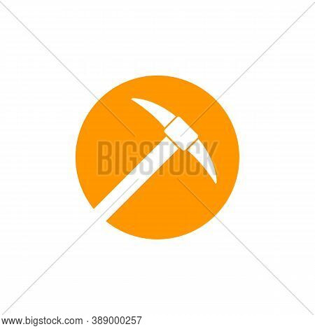 Pick Axe, Vector Round Icon, Eps 10 File, Easy To Edit