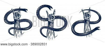 Rock Hand Sign With Aggressive Snake Set, Hot Music Rock And Roll Gesture And Serpent, Hard Rock Fes