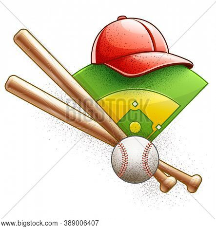 Basketball equipment, player inventory for team sport game. Green field stadium bases. Wooden bat, leather ball, glove, baseball cap with visor, isolated white background. 3D illustration.