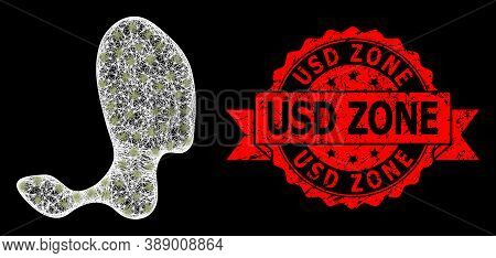 Bright Mesh Network Spot With Light Spots, And Usd Zone Rubber Ribbon Stamp. Red Stamp Includes Usd