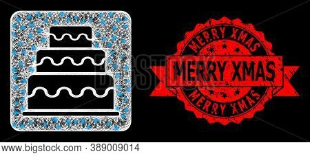 Glare Mesh Polygonal Cake With Lightspots, And Merry Xmas Dirty Ribbon Seal Imitation. Red Stamp Sea