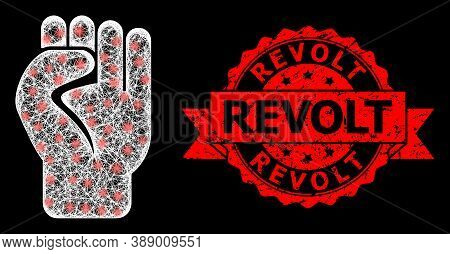 Shiny Mesh Polygonal Clenched Fist With Lightspots, And Revolt Grunge Ribbon Stamp Seal. Red Stamp S