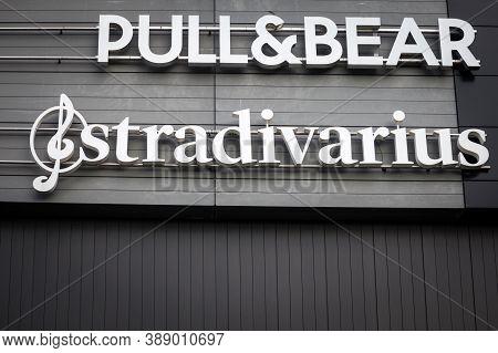 Belgrade, Serbia - August 19, 2020: Stradivarius Logo In Front Of Their Store For Belgrade. Stradiva