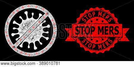 Glowing Mesh Polygonal Stop Microbe With Light Spots, And Stop Mers Textured Ribbon Stamp. Red Stamp