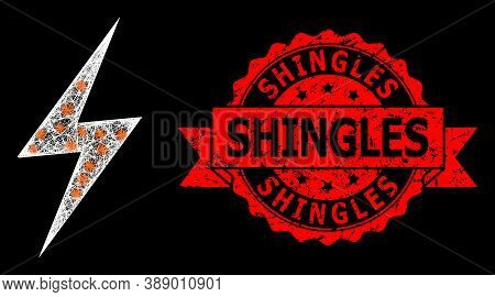 Glowing Mesh Polygonal Electric Strike With Lightspots, And Shingles Textured Ribbon Stamp Seal. Red