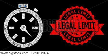 Bright Mesh Polygonal Timer With Lightspots, And Legal Limit Dirty Ribbon Stamp Seal. Red Seal Conta