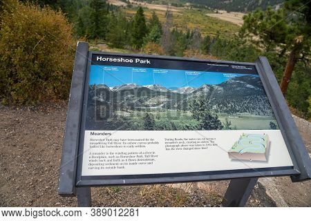 Colorado, Usa - September 19, 2020: Sign Posterboard For Horseshoe Park, A Meadow In A Floodplain In