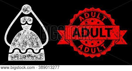 Glowing Mesh Net Bride With Glowing Spots, And Adult Dirty Ribbon Watermark. Red Stamp Seal Has Adul