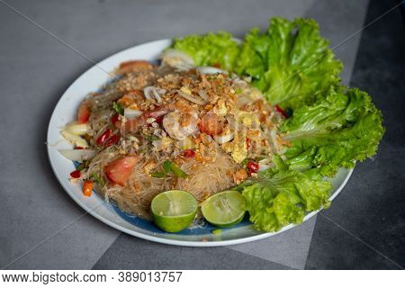 Thai Spicy Seafood Salad With Vermicelli And Minced Pork. Thai Called Yam-wun-sen