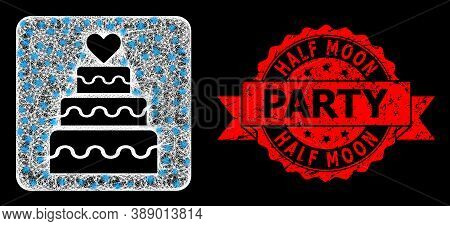 Glare Mesh Polygonal Marriage Cake With Lightspots, And Half Moon Party Grunge Ribbon Stamp Seal. Re