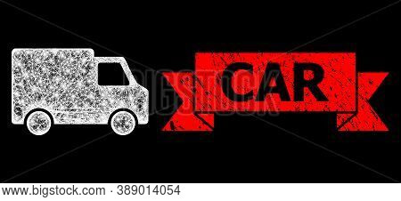 Glowing Mesh Net Van Car With Glowing Spots, And Car Rubber Ribbon Stamp Seal. Red Stamp Seal Includ