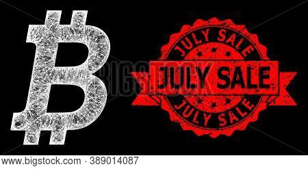 Glowing Mesh Net Bitcoin With Lightspots, And July Sale Dirty Ribbon Stamp Seal. Red Stamp Includes