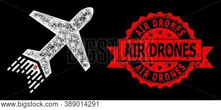 Glare Mesh Polygonal Jet Liner With Glowing Spots, And Air Drones Corroded Ribbon Stamp Seal. Red St