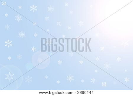 Background With White Snowflakes