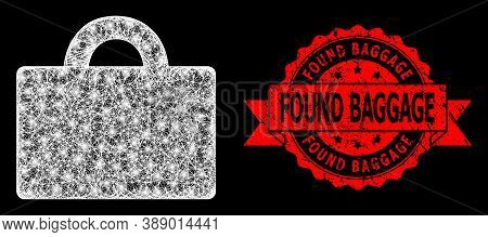 Glowing Mesh Polygonal Baggage With Glowing Spots, And Found Baggage Rubber Ribbon Stamp. Red Stamp
