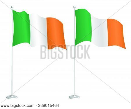 Ireland Flag On Flagpole Waving In The Wind. Holiday Design Element. Checkpoint For Map Symbols. Iso
