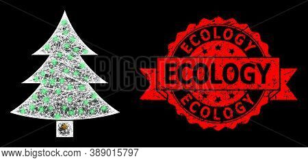 Glare Mesh Polygonal Fir-tree With Glowing Spots, And Ecology Rubber Ribbon Seal. Red Stamp Seal Has