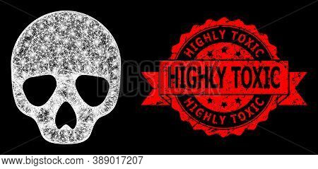 Glare Mesh Polygonal Skull With Lightspots, And Highly Toxic Grunge Ribbon Stamp Seal. Red Stamp Inc