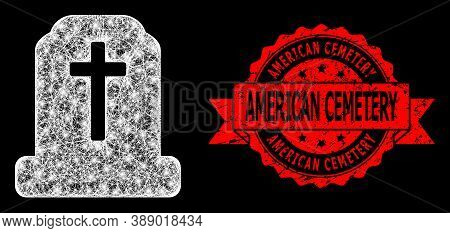 Glare Mesh Polygonal Cemetery With Glowing Spots, And American Cemetery Scratched Ribbon Stamp Seal.