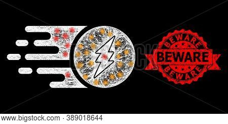 Glowing Mesh Network Electric Charge With Glowing Spots, And Beware Textured Ribbon Stamp. Red Stamp