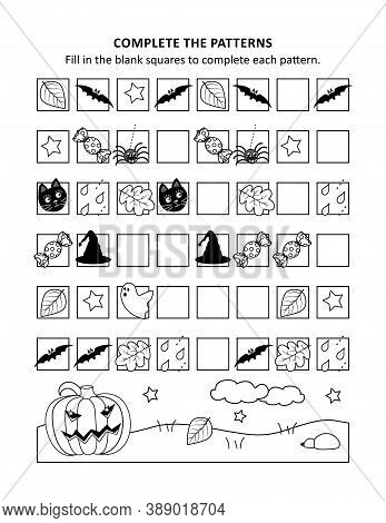 Halloween Educational Math Activity Sheet And Coloring Page To Learn And Practice Basic Skills Of Re
