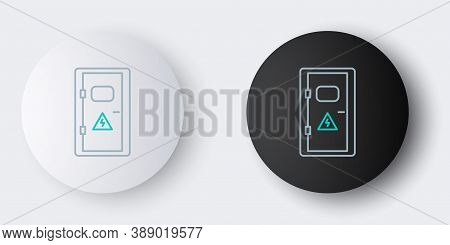 Line Electrical Cabinet Icon Isolated On Grey Background. Colorful Outline Concept. Vector