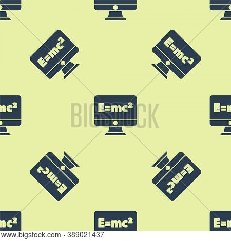 Blue Math System Of Equation Solution On Computer Monitor Icon Isolated Seamless Pattern On Yellow B
