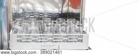Glassess In Dish Washer Machine ; White Copy Space