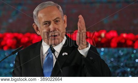 Israel, February 2020, Israeli Prime Minister Benjamin Netanyahu In Public Meeting