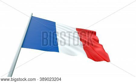 3d Render Hiresolution France Flag Is Waving On White Background Isolated With Clipping Path. 8k