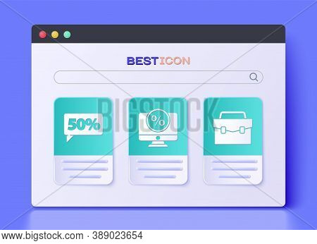 Set Percent Discount And Monitor, Fifty Discount Percent Tag And Briefcase Icon. Vector