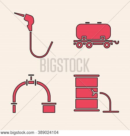 Set Barrel Oil Leak, Gasoline Pump Nozzle, Oil Railway Cistern And Industry Pipe And Valve Icon. Vec