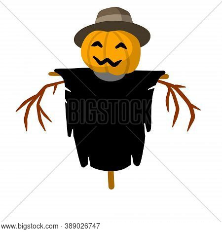 Scarecrow With A Pumpkin Head. Funny Bogeyman With Hat.