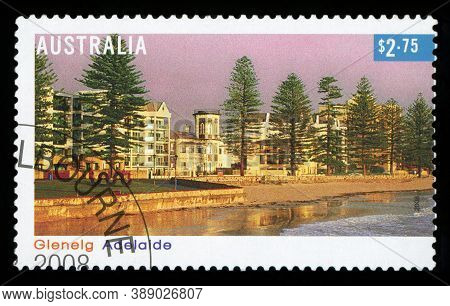 Australia - Circa 2008: A Stamp Printed In Australia Shows The Glenelg Beach-side Suburb Of The Sout