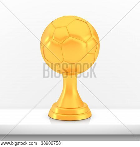 Winner Football Cup Award, Golden Trophy Logo Isolated On White Shelf Table Background, Photo Realis
